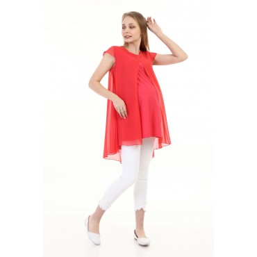 Wrapped Cut Chiffon Maternity Tunic