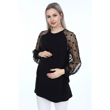 Tulle Sleeve Crep Maternity Blouse