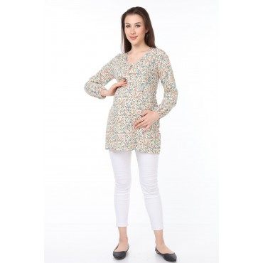 Floral Viscose Nursing Maternity Blouse
