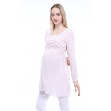 Frame Collar Striped Cotton Maternity Blouse