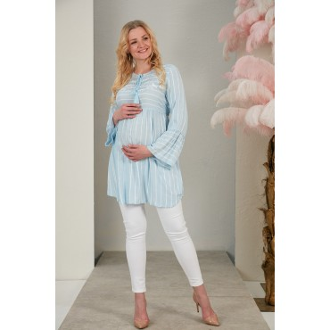 Lacing Embroidery Maternity Cotton Blouse