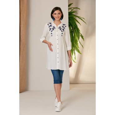 Collar Embroidered Viscose Maternity Shirt