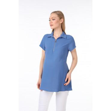 Zipper Polo Collar Breastfeeding Detail Maternity Shirt