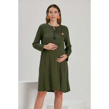 Tie Collar Brooch Viscose Maternity Tunic