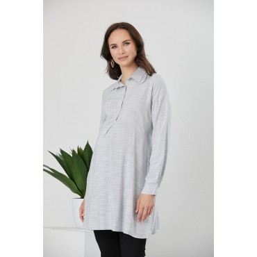 Breastfeeding Detail Maternity Shirt Collar Tunic