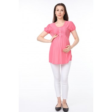 Pile Collar Buttoned Combed Cotton Pregnant Blouse