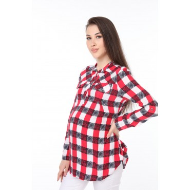 Viscose Plaid Maternity Shirt