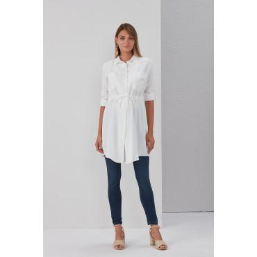 Bag Pocket Tie Maternity Shirt-Tunic