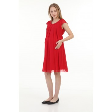 Low Sleeve Maternity Chiffon Mini Dress