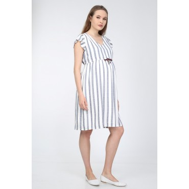 Cotton Striped Sports Maternity Dress