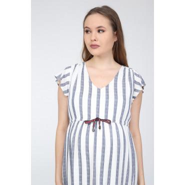 Cotton Striped Sports Maternity Dress