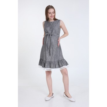 Lace Skirt Striped Linen Maternity Mini Dress