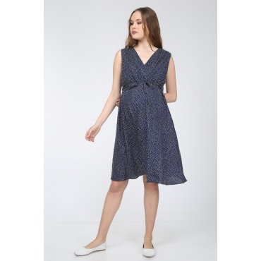 Mini Points Viscose Double Breasted Collar Maternity Dress