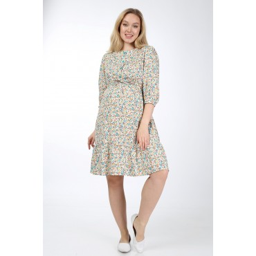 Floral Pattern Breastfeeding Detail Cotton Maternity Tunic