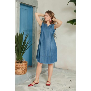 V Neck Pleated Maternity Mini Denim Dress
