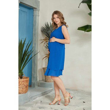 Crepe Chiffon Double Skirt Maternity Mini Gilet Dress