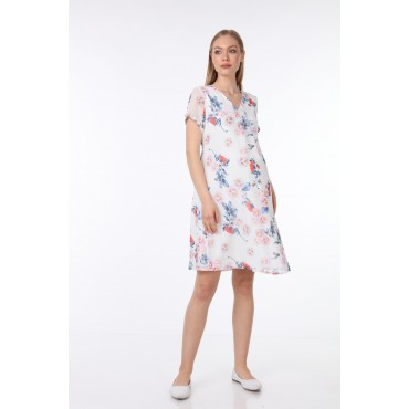 Pleated Collar White Rose Short Sleeve Mini Maternity Dress