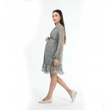 Ivy Pattern Collar Chiffon Maternity Dress