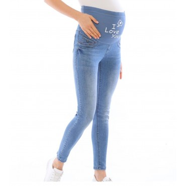 Ribana Slim Fit Maternity Jeans With Footprint