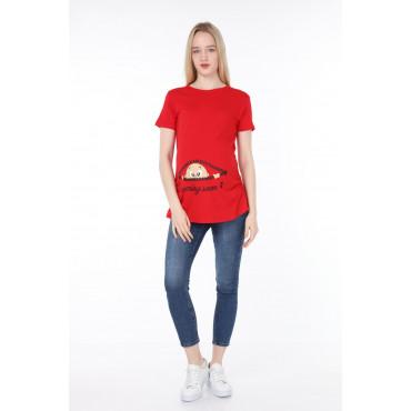 Zipper Facing Baby Viscose Maternity Short Sleeve T-Shirt