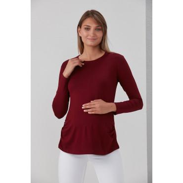 Viscose Belted Plain Maternity Long Sleeve T-Shirt