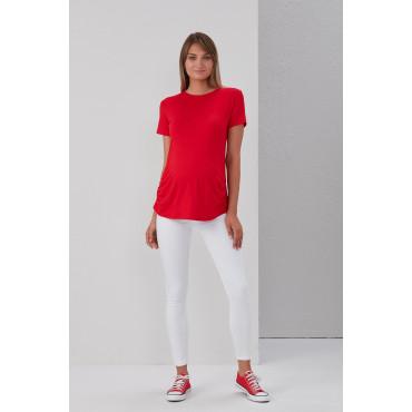 Viscose Belted Plain Maternity Short Sleeve T-Shirt