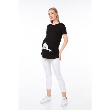 Facing Baby Viscose Short Sleeve Maternity T-Shirt