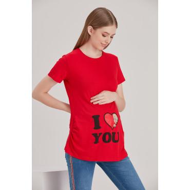 Heart Looking Baby Short Sleeve Viscose Maternity T-Shirt