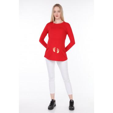 Heart Footprint Viscose Maternity Long Sleeve T-Shirt