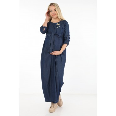 Star Embroidery Breastfeeding Maxi Jeans Maternity Dress