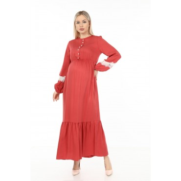 Collar Button Viscose Maternity Maxi Dress