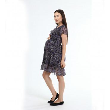 Double Frill Collar Maternity Mini Chiffon Dress