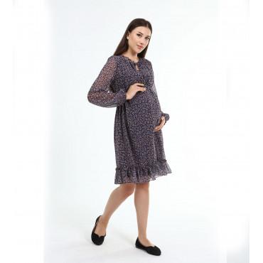 Shade Flower Pattern Maternity Mini Chiffon Dress