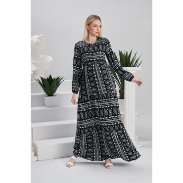 Authentic Pattern Cotton Maternity Maxi Dress