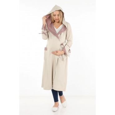 Hilton Double Breasted Tied Maternity Overcoat-Cape