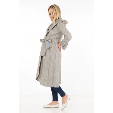Linen Double Breasted Tied Maternity Overcoat-Cape