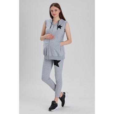 Star Embroidery Hooded Maternity Tracksuit Set