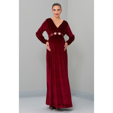 Double Breasted Velvet Maxi Maternity Dress
