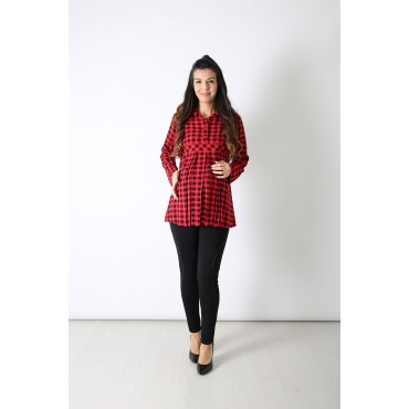 Flexible Maternity Wear Plaid Shirt
