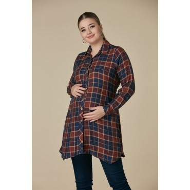 Maternity Colored Wool Plaid Tunic
