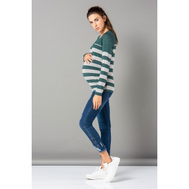Band Line Mercerized Knit Maternity Sweatshirt