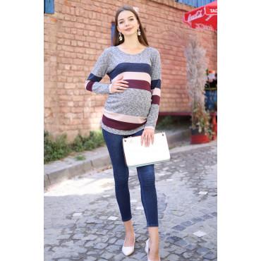Knit Combination Maternity T-Shirt