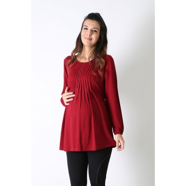 Row Button Mercerized Maternity Blouse