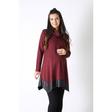 Asymmetric Leather Steel Knit Maternity Tunic