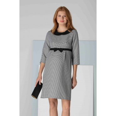 Crowd Bow Tie Office Maternity Dress