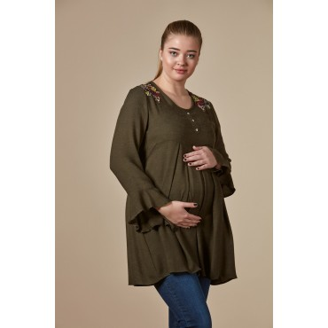 Shoulder Embroidery Breastfeeding Pregnant Tunic