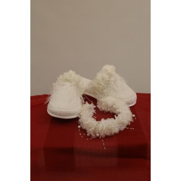 Pearl Feather Maternity Slipper-Crown Set