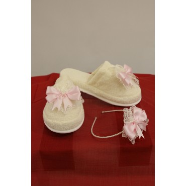 Pearl Crown Lace Combined Maternity Slipper Set