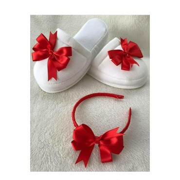 Satin Ribbons Combined Maternity Slippers-Crown Set