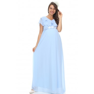 Double Pile Collar Pearl Evening Dress Maxi Dress